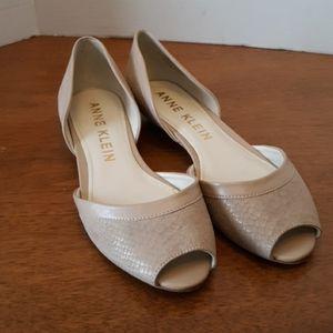 Anne Klein Franny Nude Peep Toe Flats